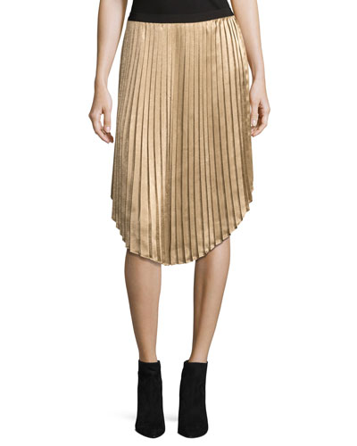 Kambree Pleated Midi Skirt, Gold