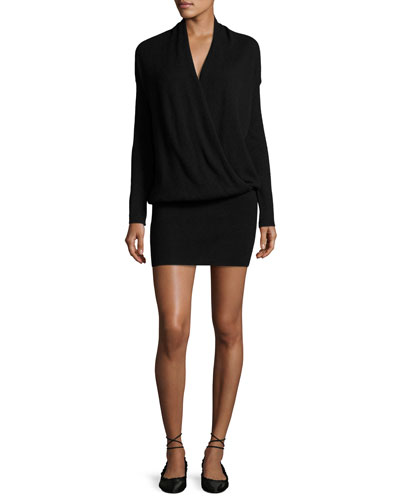 Syrin Surplice Blouson Mini Dress, Black