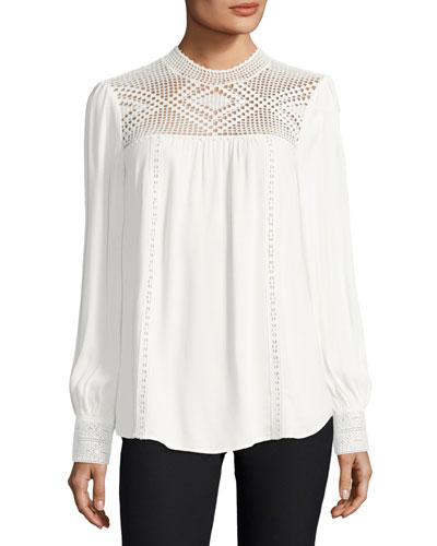 Ilse Long-Sleeve Crochet Blouse, White