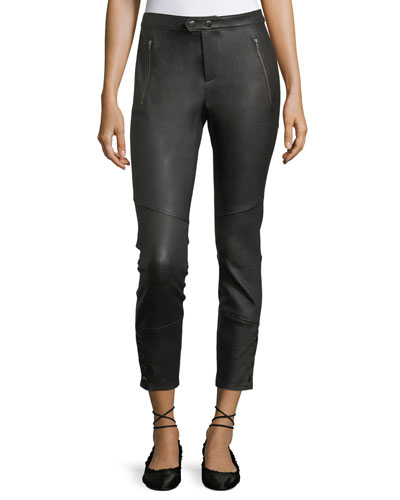 Darnella Skinny Leather Pants w/ Snaps