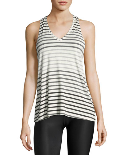 Bring It Ommmbre Striped Racer Tank Top, Gray Pattern