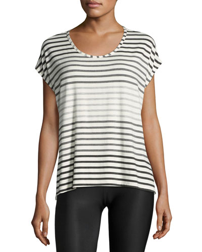 Bring It Ommmbre Striped Top, Gray Pattern