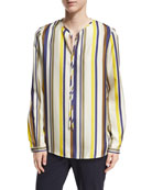 Eli Long-Sleeve Carnaby Stripe Silk Blouse