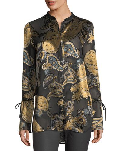 Desra Long-Sleeve Renaissance Paisley Blouse
