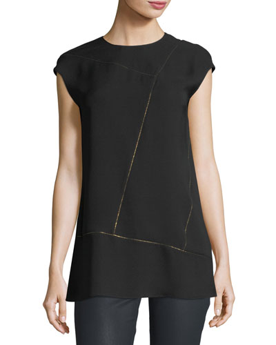 Aspen Cap-Sleeve Chain-Trim Silk Blouse