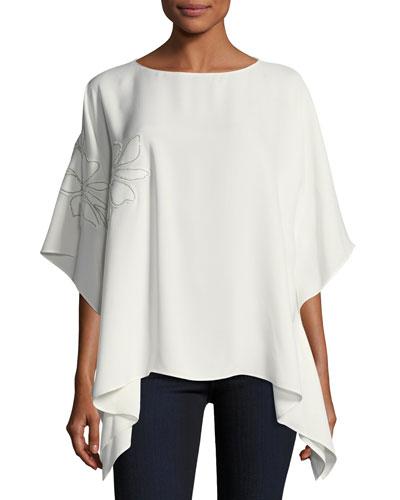 Abbot Silk Kimono Blouse w/ Chain-Trim Floral Appliqué