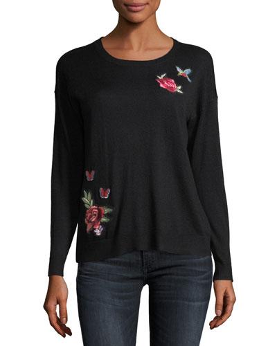 Audrea Crewneck Sweater w/ Floral Embroidery