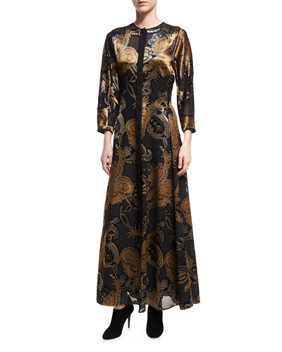 Cadenza 3/4-Sleeve Renaissance Paisley Maxi Dress