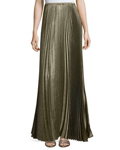 Florianna Bijoux Pleated Metallic Maxi Skirt