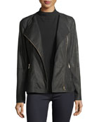 Aimes Weathered Lambskin Moto Jacket