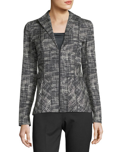 Britta Urban Grid Zip-Front Jacket