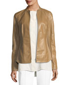Embla Lambskin Leather Jacket w/ Ponte Combo
