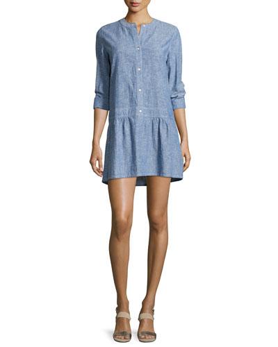 Amiri Button-Front Mini Dress, Blue