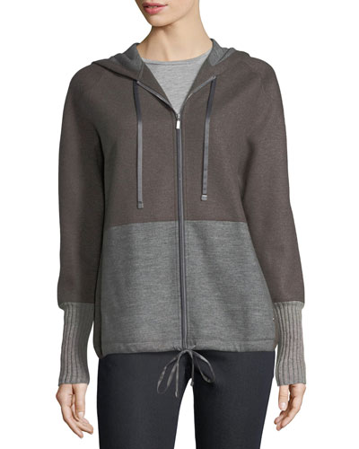 Zip-Front Colorblocked Wool-Blend Jersey Hoodie