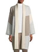 Felted Colorblocked Cashmere Cardigan Coat