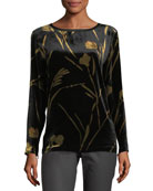 Nessa Long-Sleeve Golden Blooms Floral Velvet Blouse