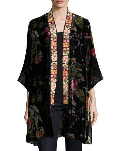 Kehlani Reversible Velvet Kimono W/ Embroidery Trim, Petite