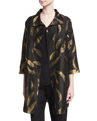 Gold Leaf Jacquard Party Jacket, Petite