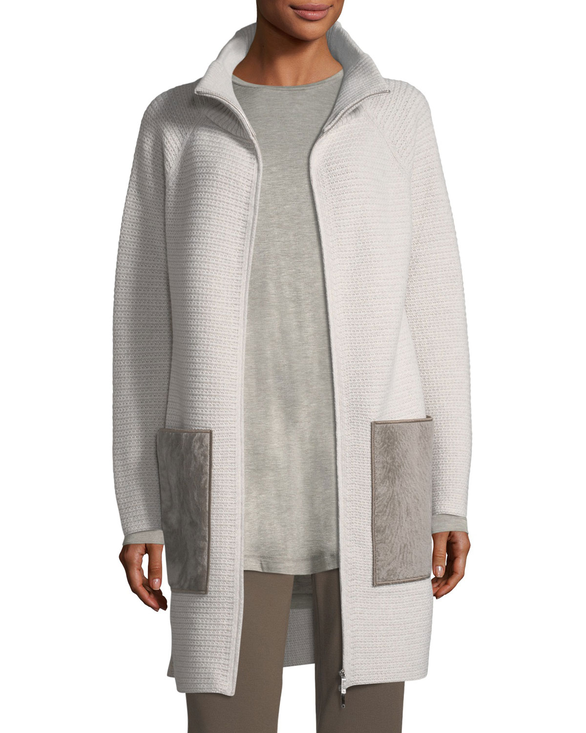Lafayette 148 OVERSIZED KNIT CARDIGAN COAT W/ SHEARLING POCKETS
