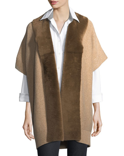 Shearling Fur-Trimmed Oversized Cardigan