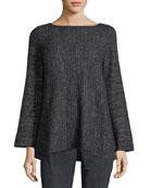 Bateau-Neck Cashmere-Blend A-Line Sweater