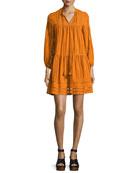 Sunita 3/4-Sleeve Shirred Cotton Dress, Turmeric