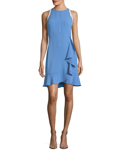 Grove Sleeveless Ruffled Stretch-Crepe Dress