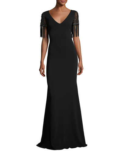 Beaded Fringe-Sleeve V-Neck Crepe Evening Gown