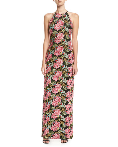 Floral-Embroidered Halter Gown