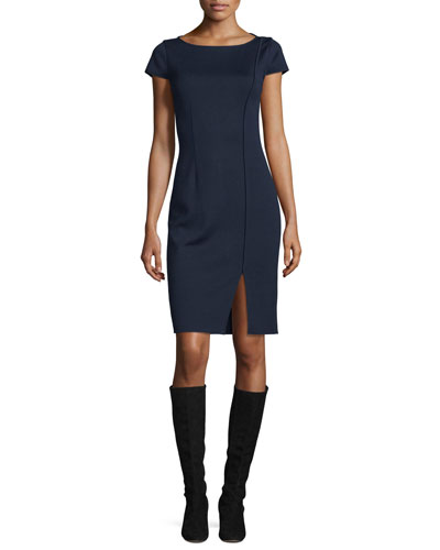 Milano Boat-Neck Cap-Sleeve Dress
