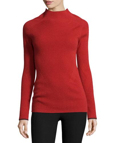 Natasha Ribbed Cashmere Sweater, Saffron