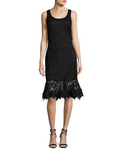 Attitude Sleeveless Lace Flounce Cocktail Dress