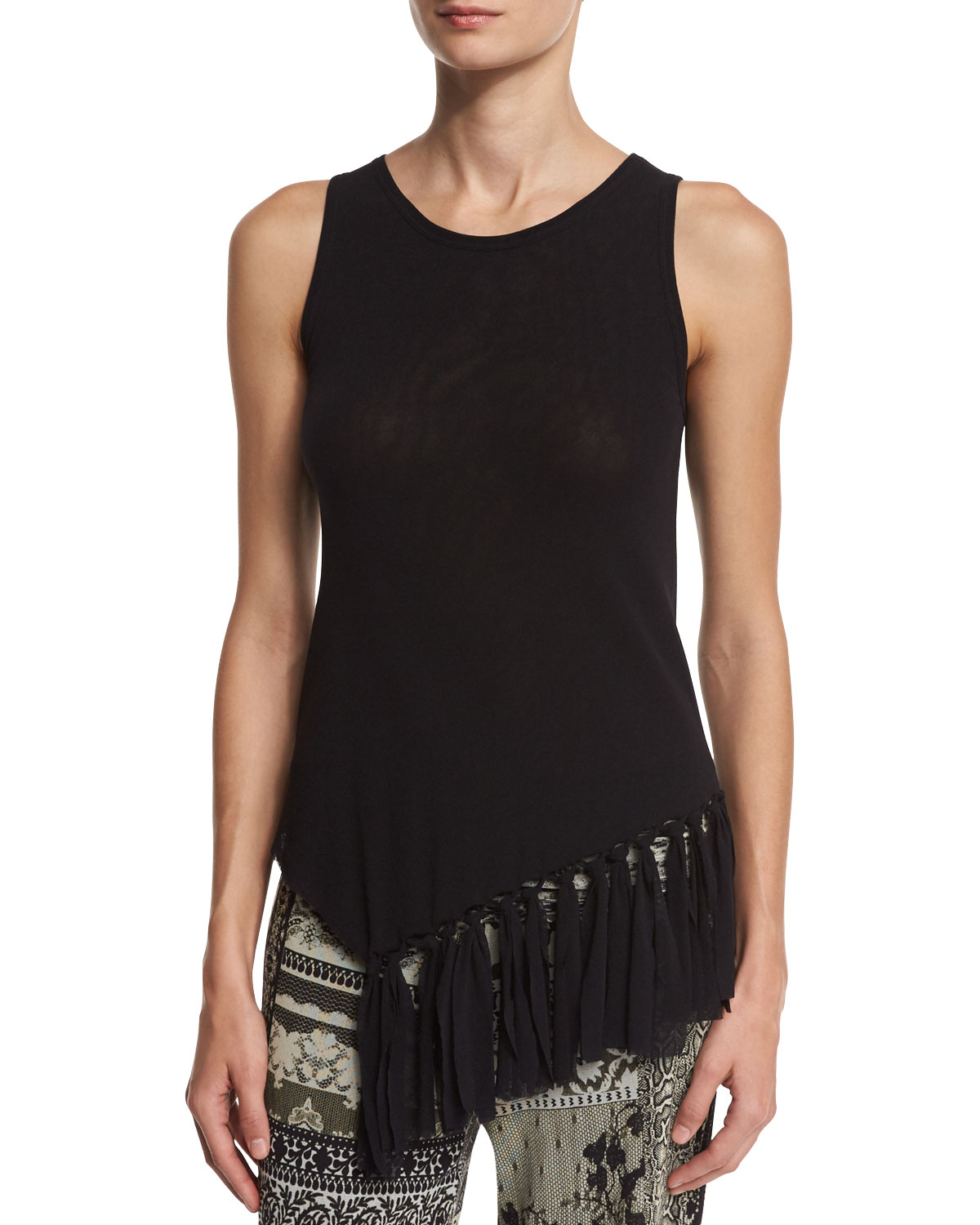 Sleeveless Fringe-Hem Tulle Top, Black