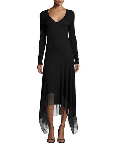 Long-Sleeve V-Neck Dress W/ Mesh-Hem