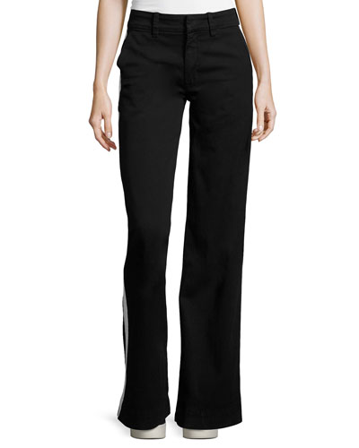 Joplin Wide-Leg Trousers w/Track Stripe, Black
