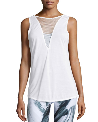 Warm-Up Mesh-Inset Sport Tank Top