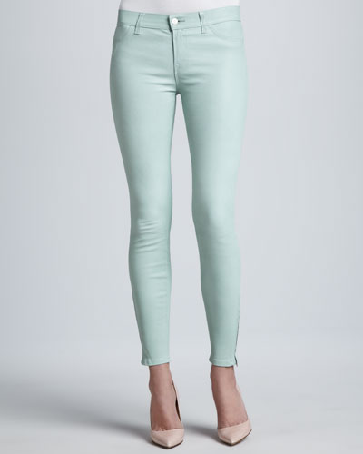 L8001 Leather Skinny Jeans, Mint