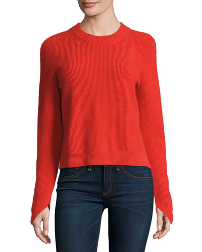 Valentina Ribbed Cashmere Sweater, Fiery Red