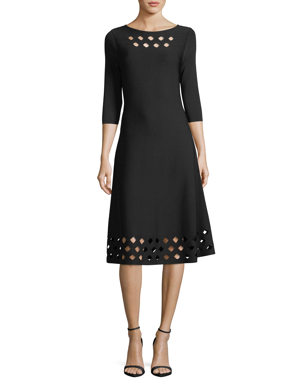 Time Out Twirl 3/4-Sleeve Cutout Dress, Plus Size