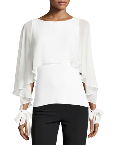 Allonge Ruffled Chiffon Top, White