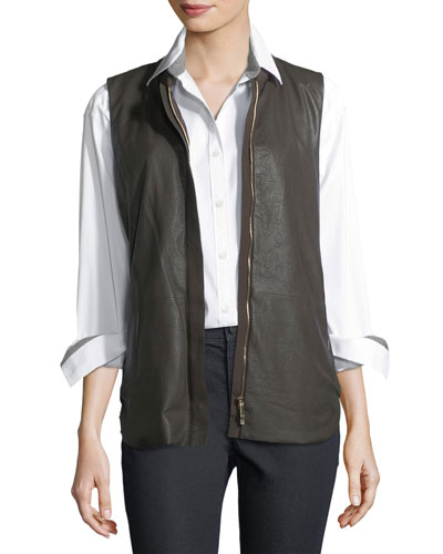 Kaelyn Leather Vest w/ Tech Cloth Back