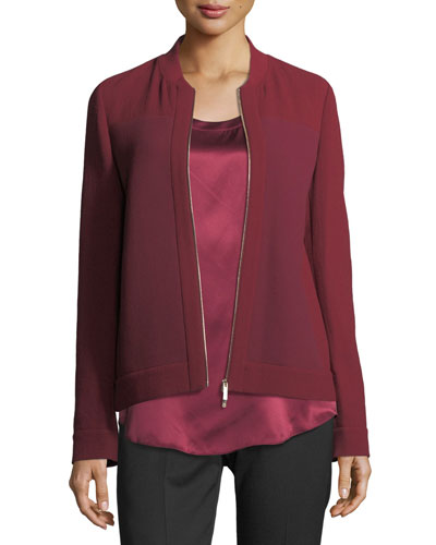 Allison Colorblocked Jacket w/ Waffle-Knit Combo