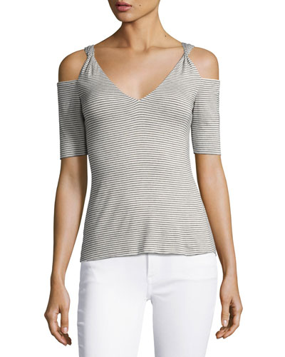 Battlement V-Neck Cold-Shoulder Stripe Top, Gray White Multi