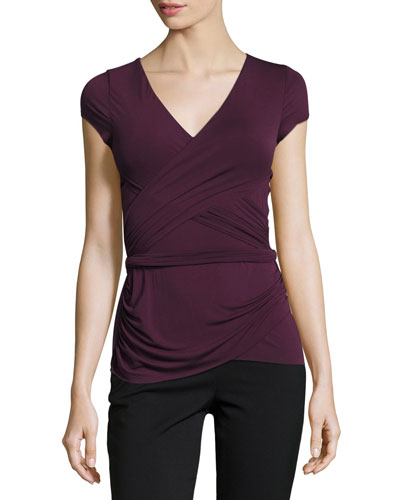 Entrechat V-Neck Crossover Top, Purple