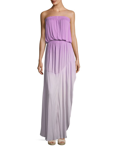Kylie Tie-Dye Strapless Ombre Maxi Dress, Purple Pattern