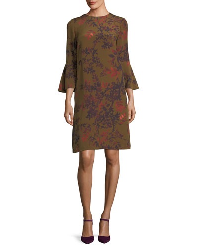Sidra Bell-Sleeve Garden Floral Silk Dress