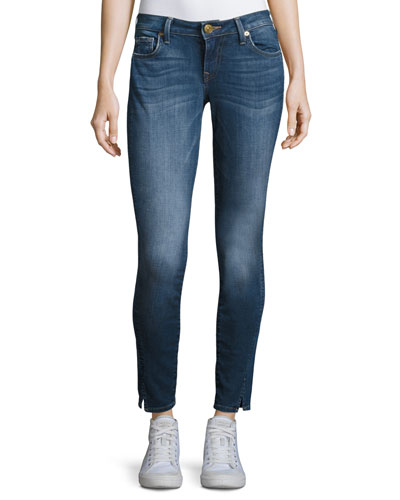 Jennie Twisted Seam Mid-Rise Skinny Jeans, Blue