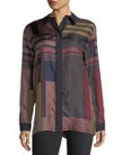 Sabel Button-Front Arcadian Patchwork Silk Blouse