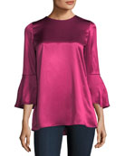 Sidra Bell-Sleeve Luxe Charmeuse Silk Blouse