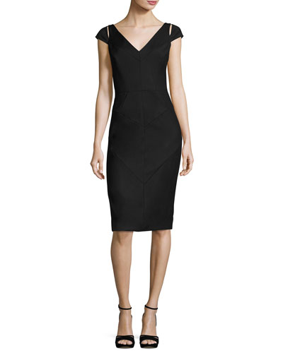 Larissa Short-Sleeve Italian Gabardine Sheath Dress